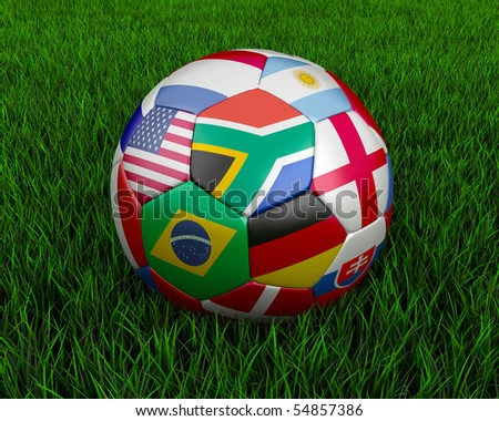 Soccer ball with various country flags. - stock photo
