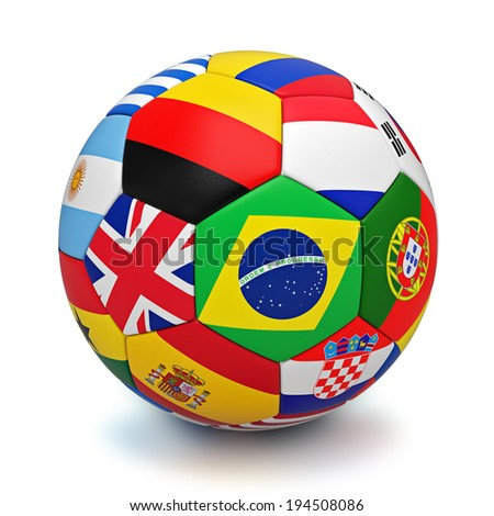 Soccer ball with world countries flags isolated on white background - stock photo
