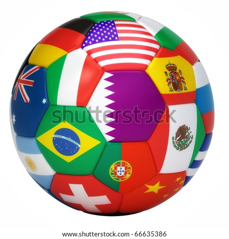 Soccer ball with world flags isolated on white - stock photo