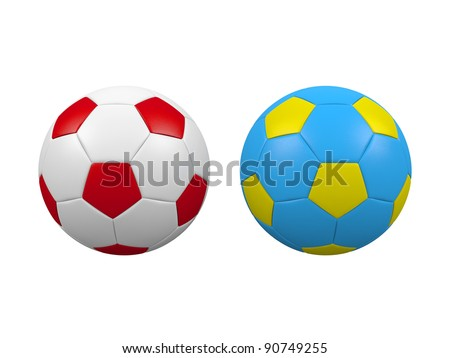 Soccer balls isolated on a white background. Balls has Poland and Ukraine flags colors.Poland and Ukraine are euro 2012 organizers. - stock photo