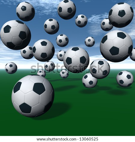 Soccer balls on green 3D rendering. - stock photo