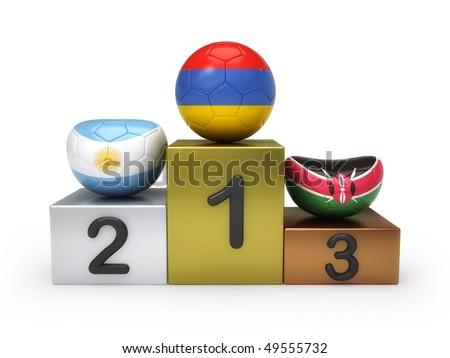 Soccer balls on podium - stock photo