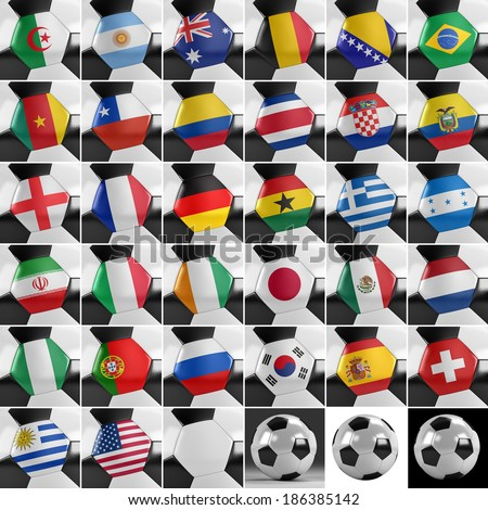 Soccer balls with all national flags of the world championship - stock photo