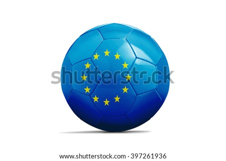 Soccer balls with team flags, Football Euro 2016. Euro flag - clipping path - stock photo