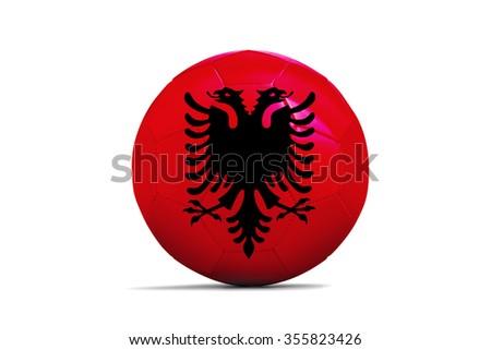 Soccer balls with team flags, Football Euro 2016. Group A, Albania - stock photo