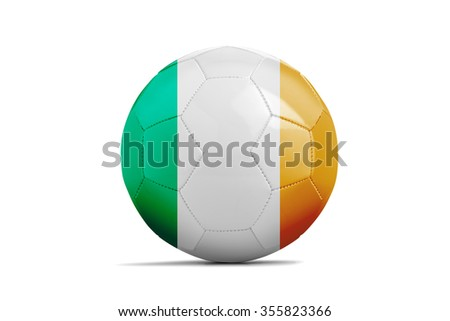 Soccer balls with team flags, Football Euro 2016. Group E, Republic of Ireland- clipping path - stock photo