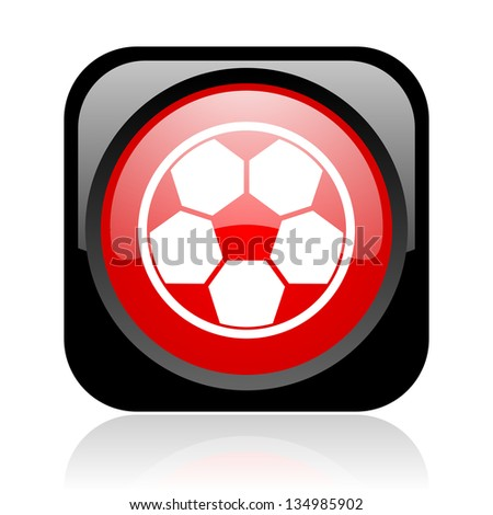 soccer black and red square web glossy icon