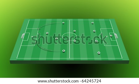 soccer board tactic with green background