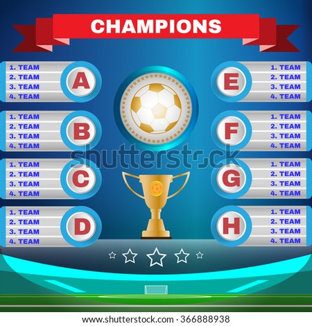 Soccer Champions Scoreboard Template On Blue Stock Illustration