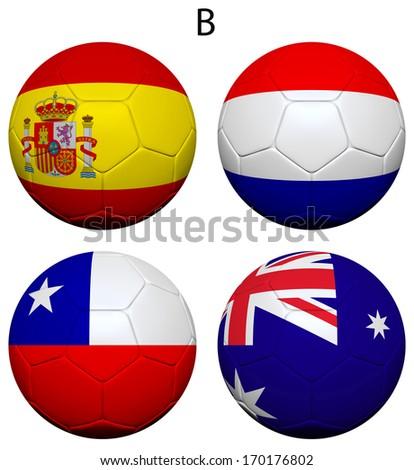 Soccer Championship 2014. Brazil. Group B. Spain, Netherlands, Chile, Australia. 3d soccer ball design. - stock photo