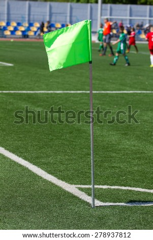 Soccer corner flag on the stadium  - stock photo