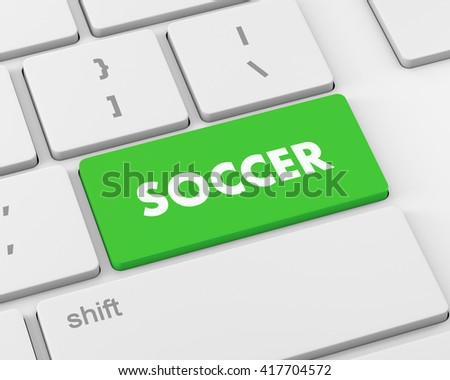 Soccer 3d button isolated on white, 3d rendering
