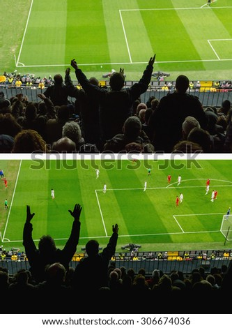 Soccer. Excited soccer fans protest against a bad decision of the referee - stock photo