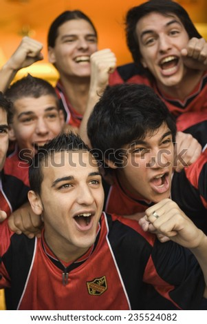 Soccer Fans Cheering - stock photo