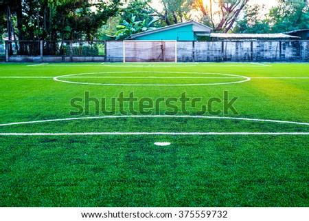 Soccer field artificial grass  - stock photo