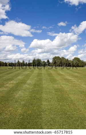 Soccer field background - stock photo