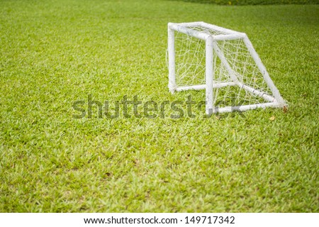 soccer field grass Goal at the garden with white lines on grass - stock photo