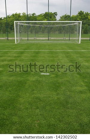 grass soccer field with goal. Exellent Goal Soccer Field Grass Goal At The Stadium Soccer With White Lines On  With Grass Field 0