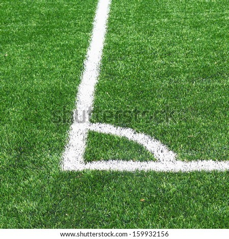 soccer field grass with ball - stock photo