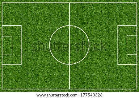 Soccer field green grass - stock photo