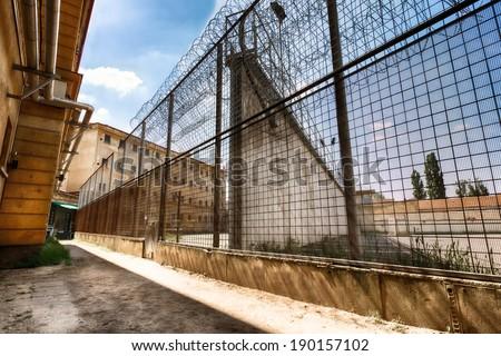 soccer field in jail - stock photo