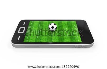 Soccer Field in Mobile Phone - stock photo