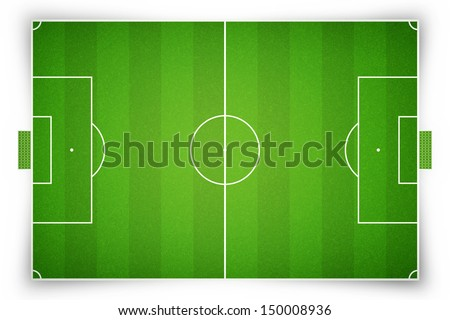 Soccer field or football field on white background - stock photo