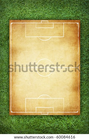 Soccer field pattern on vintage background in the green grass - stock photo