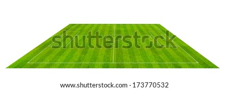 Soccer field perspective view - stock photo