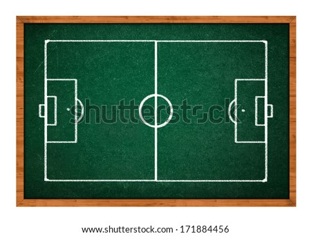 Soccer field scheme on green chalkboard. Football pitch drawing for learning sport tactics.