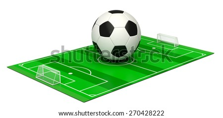 soccer field with a big ball on white background (3d render) - stock photo