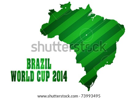 Soccer field with Brazil map world cup 2014. - stock photo