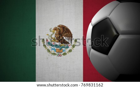 Soccer football against a Mexico flag background. 3D Rendering