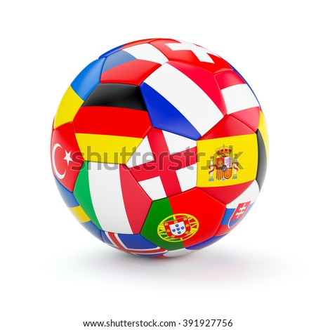 Soccer football ball with Europe countries european flags isolated on white background - stock photo