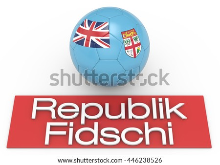 Soccer football ball with Fiji flag, German Version 2, 3D-Rendering