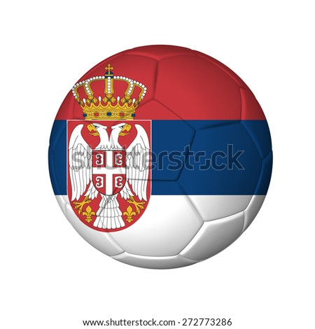 Soccer football ball with Serbia flag. Isolated on white. - stock photo