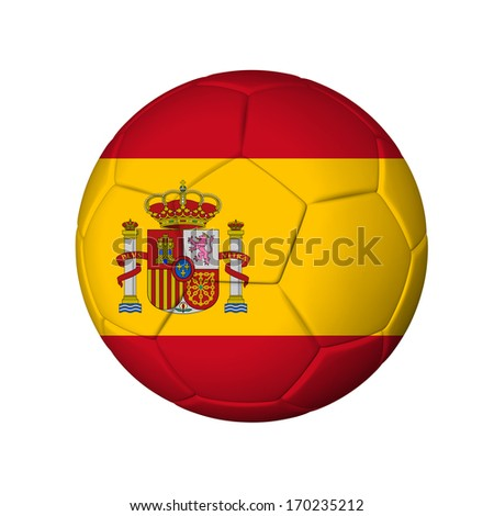 Soccer football ball with Spain flag. Isolated on white. - stock photo