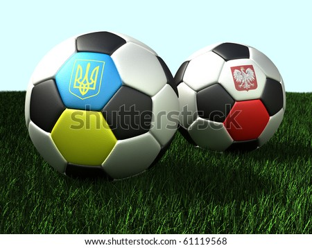 Soccer (football) balls on grass - with flags of Ukraine and Poland. 3d illustration - stock photo