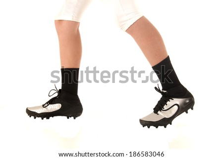 soccer football cleats shoes closeup white background - stock photo