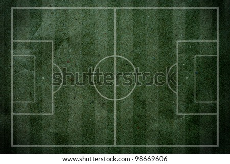 soccer - football field on grunge paper. - stock photo