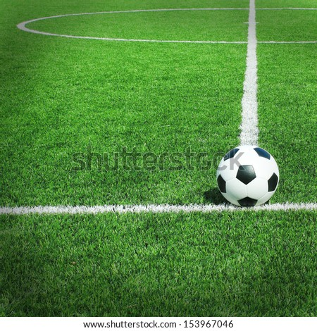 Soccer football field stadium grass line ball - stock photo