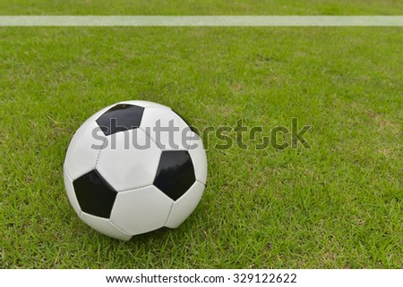 Soccer football field stadium grass line ball background texture light