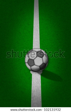 soccer - football field with white lines on grunge paper - stock photo