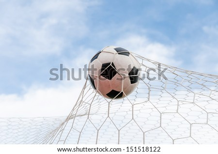 Soccer football in Goal net with Blue sky field. For sport concept. - stock photo