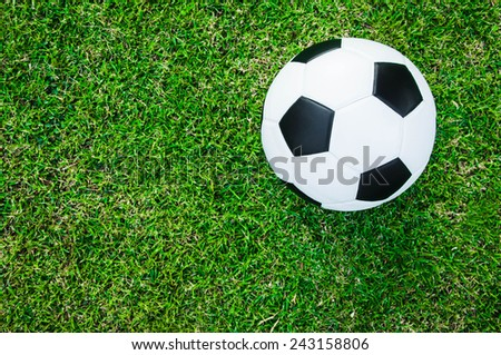 Soccer Football on Grass Field (in Stadium or Local Field)  Sport Concept and Idea  / for background, wallpaper, texture. Standard Ball Black and White. - stock photo