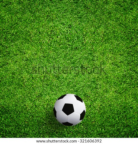 Soccer football on green grass background.