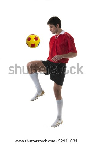Soccer/Football player, isolated on white - stock photo