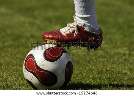 Soccer, football, player legs with a ball