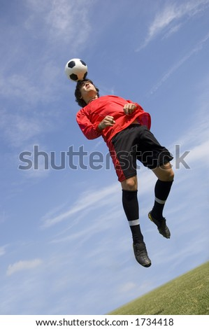Soccer - Football Player making header - stock photo