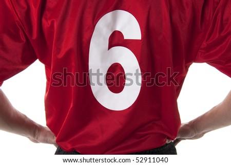 Soccer/Football player t.-shirt, close-up - stock photo